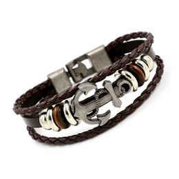 Wholesale green friendship - New Anchor Bracelet Multilayer Leather Rope Bracelet For Women Men Friendship Punk Vintage Braided Leather Bracelet Gift