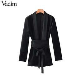Wholesale Ladies Long Tops Designs - Vadim women V neck bow tie velvet kimono coat belt design long sleeve coats European style ladies casual outerwear tops CT1613