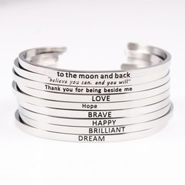 Wholesale custom armbands - Personalized Initials Bracelets Bangles for Women Gift 3.2m Bar Armband Custom Engraved Quote Bracelet Engraving Letters Jewelry