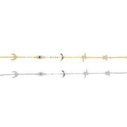Zierliches silbernes armband online-925 Sterlingsilber nette reizende Charmeverbindungs-Kettenarmband für Frauenregenbogen Mondstern glückliches Auge köstliche minimale reizend Armbänder