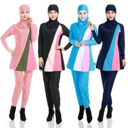 Traje de baño completo de spandex online-Nuevas señoras de la manera de las mujeres de la cubierta completa Modest Burkini traje de baño traje de baño musulmán islámico Beachwear 4 colores 7 tamaño