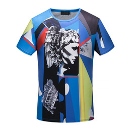 Wholesale Color Collage - 2018 new Spring and summer luxury brand Medusa men's fashion round neck short sleeve, 3D color JP collage printing T-shirt high-grade fabric