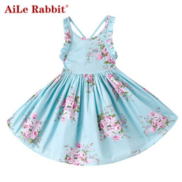 73104e725b5f AiLe Rabbit Baby Girls Dress Brand Summer Beach Style Floral Print Party  Backless Dresses For Girls Vintage Toddler Clothing