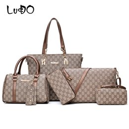 84bc3186c5e clutch sac main Coupons - LUCDO 6 Pcs Set Bags Women Handbags Leather  Shoulder Bags Totes