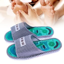 Wholesale healthy foot massage - Healthy Striped Pattern Reflexology Foot Acupoint Slipper Massage Promote Blood Circulation Relaxation Foot GOOD Care Shoes 25cm