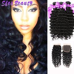 Shesbeauty Indien Vierge Cheveux Vague Profonde 3 Faisceaux avec Fermeture ? partir de fabricateur