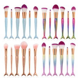 Wholesale Hair Color Kits - TOP QUALITY!HOT 12 color 6pcs set mermaid makeup brushset fish tail colorful eye shadow brush beauty tools FREE DHL