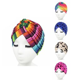 Wholesale Turban Headband Wrap Cap - Women's new Fashion rasta Turban Indian Style Head Wrap Cap Hat Hair Cover Head band 5 colors