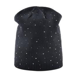 Hiver d'hiver des femmes chapeaux tricoté laine masque occasionnel casquette avec cristal solide couleur ski Gorros chapeau extérieur pour les filles ? partir de fabricateur