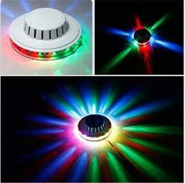 Wholesale Ufo Leds - UFO Portable Flash laser Stage Lights RGB 48 Leds Sound Activated Sunflower Led Lighting for KTV DJ Party Wedding 2018 Newest