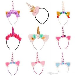 Wholesale Halloween Baby Hair Bows - Baby Fashion Unicorn Tiaras for Festival Halloween Lovely Cat Ears Girls Hair Sticks Kids Hair Bow Headband