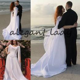 Argentina Vestidos de boda celta retro con mangas largas Alas de ángel que fluye gasa Sweep tren con cordones vestidos de novia de la playa modesta vaina vestido de novia Suministro