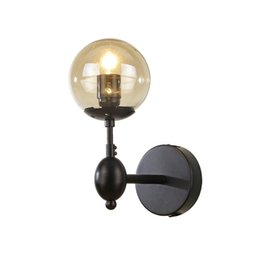 bedside wall light iron Promo Codes - American vintage iron wall lamp Nordic simple living room study bedroom bedside hallway led light ball glass lampshade E27 bulbs