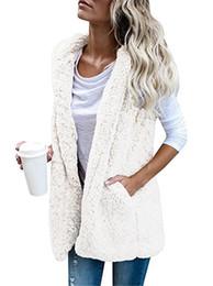 Wholesale Women Sleeveless Sweaters - Women's sherpa soft fleece vest Hooded Sleeveless Solid Color lamb Wool Vest Warm Cardigan sweaters Ladies Outwear Tops 5Color 4Size Best
