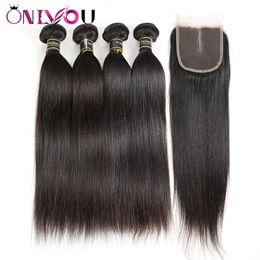 Deutschland Silk gerade Menschenhaar Bundles mit 4x4 mittleren Teil Lave Schließung preiswerte brasilianische peruanische rohe indische Jungfrau Haarverlängerung spinnt Bundles cheap silk indian hair Versorgung