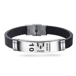 Звезда футбола браслеты известный футболист Марадона Месси из нержавеющей стали регулируемые ID браслеты человек мальчик браслет ювелирные изделия оптом от