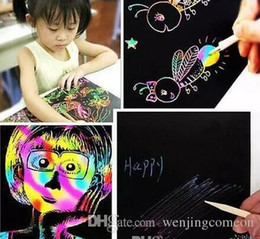 bambini di carta graffi Sconti Nuovo arrivo 10 fogli 16K carta da parati graffio colorato carta magica pittura più disegno bastone bambini giocattoli regalo di Natale