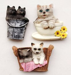 Wholesale World Travel Stickers - Handmade Painted Cute Cat 3D Resin Fridge Magnet World Travel Souvenir Refrigerator Magnetic Stickers Home Decortion