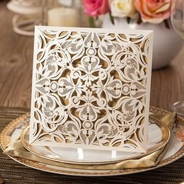 Wholesale Free Wedding Invitations - Hot Sale Lace Wedding Invitation Cards Laser Cut Hollow Flowers Personalized Elegant Wedding Invitations Cards With Free Envelopes
