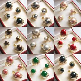 Weiße perle grüne jade halskette online-Schwarz Weiß Rosa Grau Shell Pearl Green Jade 18KGP Ring Ohrring Anhänger Halskette + Free Chain