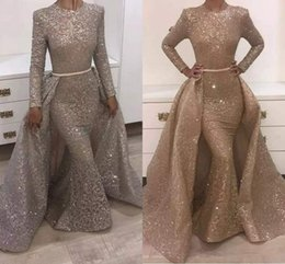 Wholesale vintage sequined dresses - 2018 Mermaid Evening Dresses Jewel Long Sleeve Unique Design Evening Gowns Lace With Sequins Beads Crystals Formal Evening Dresses