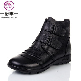 Wholesale chinese high heels - MUYANG Chinese Brands genuine leather boots women, shoes woman Winter women's Warm mother shoes flat heel Flat Snow Women Boots