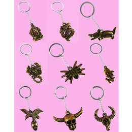 Wholesale Wholesale Elephant Keychains - Stainless Steel Key Chains Acrylic Pendant Mix 9 Styles Elephant Dragon Crocodile Scorpion Spider Fish Eagle Skull Goat Accessories (JK008)