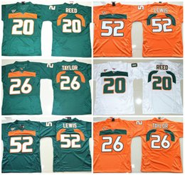 Wholesale Miami Shorts - Miami Hurricanes College Football Jersey 5 JOHNSON 20 Ed Reed 52 Ray Lewis 26 Sean Taylor 47 IRVIN 87 WAYNE
