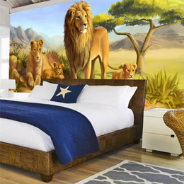 Wholesale Photo Lions - Personalized Customization 3D Embossed Animal Lions Photo Mural Wallpaper For Kids Bedroom 3D Room Landscape Wall Decor Frescoes