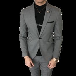 2019 trajes coreanos de la boda para los hombres 2018 nueva juventud  coreana delgada noche viento 8ff406d335e