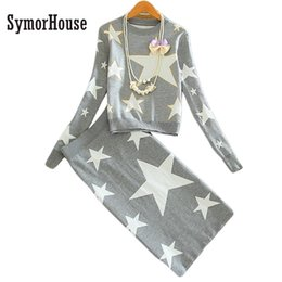 Wholesale Long Sweater Pencil Skirt - Wholesale Popular Stars Kits for Women Printed Casual Stars Patterns Pencil Skirts Sweaters Sets Knee Length Long Skirt Sets