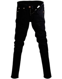 Wholesale chains for jeans - Mens Korean Designer Black Slim Fit Jeans Punk Cool Super Skinny Pants With Chain For Male