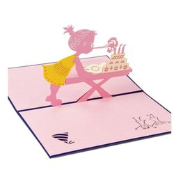 pop ups card Promo Codes - Wholesale- Hot Sale Greeting Cards With Envelope Pop Up 3d Card Beautiful Foldable Cut Paper Creative Handmade Girl Children Birthday Gift