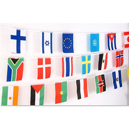 Wholesale Flags Cup - 2018 Russia World Cup Hanging Flags 14*21cm Top 32 Countries Polyster National flags String Banners for Soccer Fans