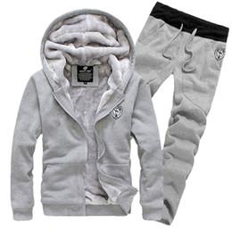 Sweat à capuche épais pour hommes Velvet Warm Warm Velvet Hommes Sportwear Hiver Gris Rouge Noir M-3XL (Taille Asiatique) Veste Manteau + Pantalon ? partir de fabricateur