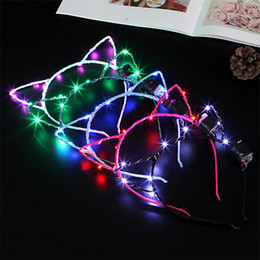 Wholesale Hair Designs For Girls - Led Flashlight Cat Ear Design Headdress Adorable Girl Metal Lovely Hair Hoop Cute Head Band For Party Club Carnival Decor Toys 5yk Z
