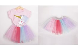Wholesale t shirt yarn wholesale - New Korean Spring and Summer Fashion Unicorn Pink Short-sleeved T-shirt and Color Yarn Dress Child Set Girl Heart Skirt
