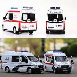 Wholesale Toy Police Cars Models - 1 32 Scale Benz Ambulance,Police Cars Alloy Model Pull Back Collection Toy