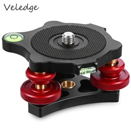 Wholesale Screw Head Camera - Veledge LP-64 Precision Leveling Base Tripod Head Plate Aluminum 3 8 inch Mounting Screw 3 Adjustment Dials For Camera Tripod