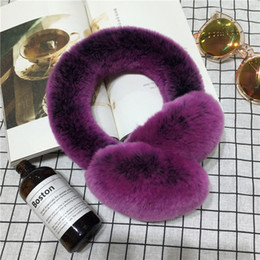 Wholesale Rabbit Skin Fur - 2017 new body of the whole skin Rex rabbit hair couple earmuffs fur care ear cover winter warm ears cover men and women earrings