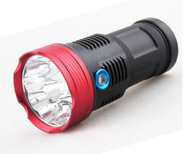 Wholesale free xm - New Version Red Head 13000 lumens T6 LED flashlight 9 x CREE XM-L T6 LED Flashlight Torch For Camping, Hiking,Free Shipping