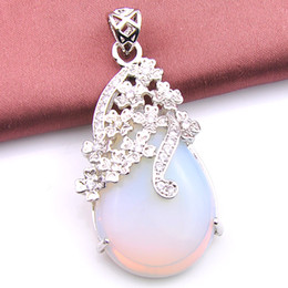 Diamante di pietra lunare online-Luckyshine 6 Pz / lotto Classico 100% Naturale Acqua Drop Cut Diamante Bianco Fire Moonstone Gemstone Vintage Argento Pendenti Collana Gioielli