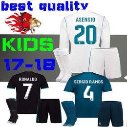 Wholesale Boys Shirts Long Sleeves - 17 18 Real Madrid kids soccer jersey kits boys child jersey 2017 2018 RONALDO Asensio BALE RAMOS football shirts third Long sleeves Marcelo