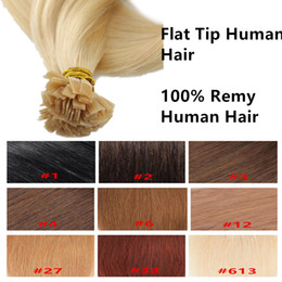 Wholesale keratin bond human hair extensions - Pre Bonded Flat Tip human Hair Extensions 100Strands 80g 20inch 9Colors Available Keratin Remy Hair products