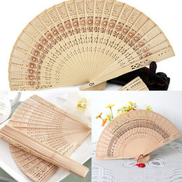 Wholesale personal crafts - 2 styles Fashion Sandalwood hand hold folding fans Sunflower Print Openwork Personal fan Home Decoration Crafts Gifts GGA148 200PCS