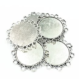 Wholesale metal jewelry cabochon blanks - 5Pcs Necklace Pendant Silver Tone Flower Lace Metal Seing Jewelry Cabochon Cameo Base Tray Bezel Blank Fit 34mm Cabochons 49mm