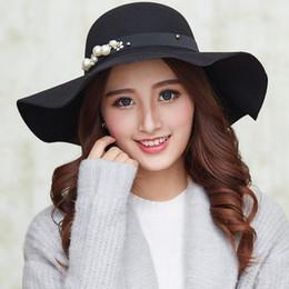 Sombrero fedora de borde grande de lana grande de otoño e invierno Sombrero  fedora de dama de flor británico ocasional de la perla 17ff302b769