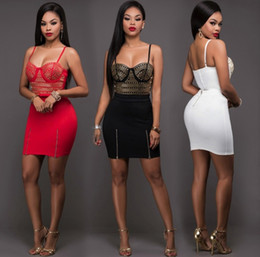 Wholesale Hot Sexy Skirt Set - European and American Women's Hot drilling Strapless Set Sexy Package Hip Mini Skirts Rhinestone Two piece dress