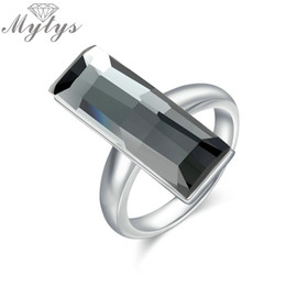 Wholesale Rectangle Crystal Ring - whole saleMytys Grey Color Rectangle Crystal Ring Square Geometric Fashion Jewelry Prom Party Original Design Big Crystal Ring R1946