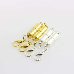 Wholesale magnetic bracelet connectors - Stylish Magnetic Lobster Clasp DIY Jewelry Necklace Bracelet Cylindrical Magnetic Bracelet Connector Accessories Buckles Gold Silver H8F